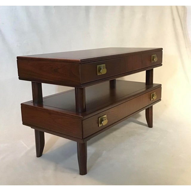 Mid Century Modern Walnut Stacked Style End Table For Sale - Image 11 of 13