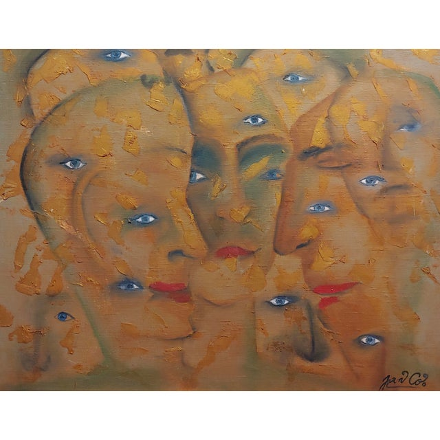 Abstract Many Eyes & Faces Cubist Oil Painting Signed by Janco For Sale - Image 3 of 12
