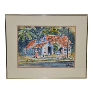 "Vintage ""Island Life"" Original Watercolor Painting C.1988 For Sale"