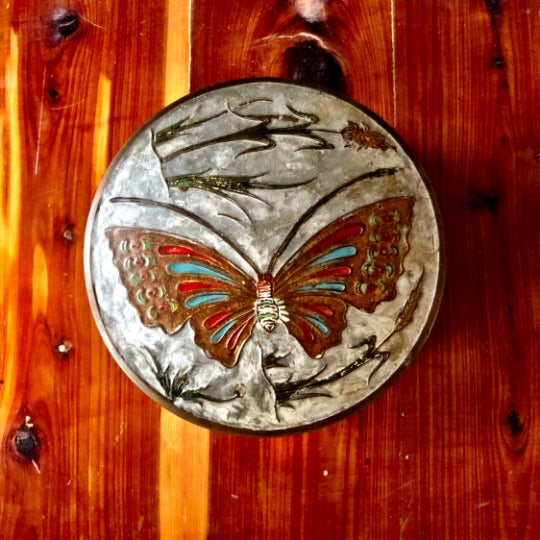 1970s Mid-Century Brass Butterfly Trinket Box For Sale - Image 5 of 5