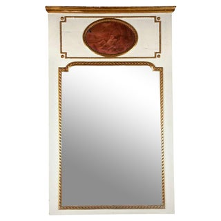 White Painted & Parcel-Gilt French Trumeau Mirror For Sale