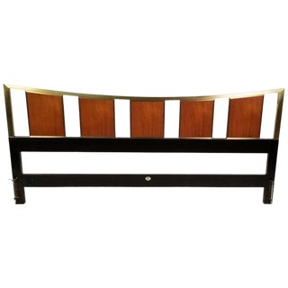 Brass King Size Headboard With Framed Teak Panels Designed by Michael Taylor for Baker For Sale
