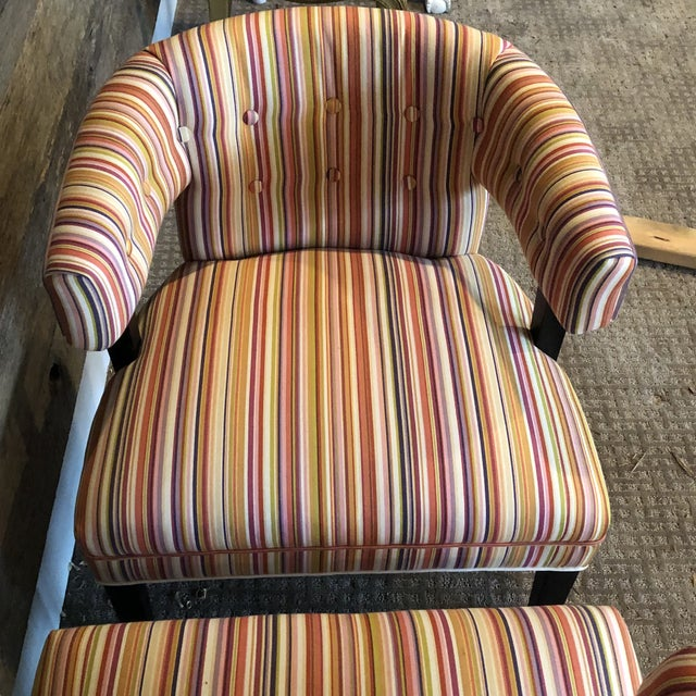 Boho Chic Colorful Striped Barrel Chairs - a Pair For Sale - Image 9 of 11