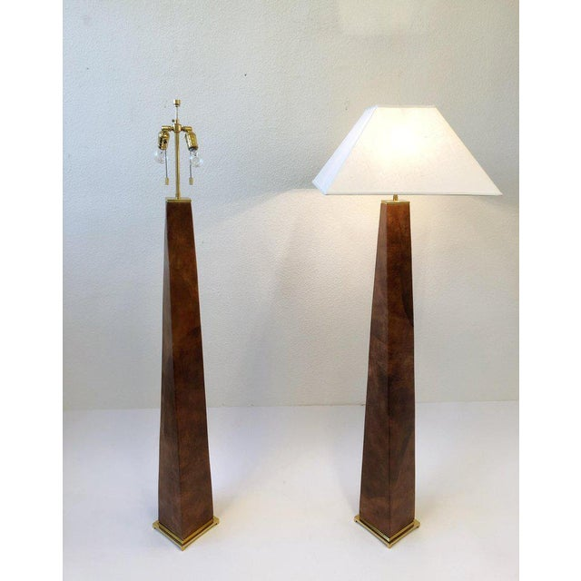 Animal Skin 1980s Brass and Leather Floor Lamps by Karl Springer - a Pair For Sale - Image 7 of 10