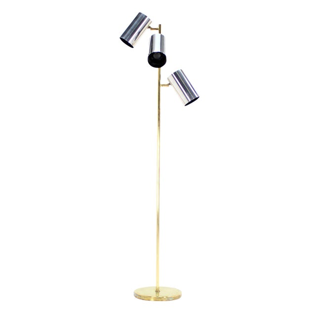 Midcentury Brass Base Floor Lamp with Three Fully Adjustable Chrome Shades For Sale
