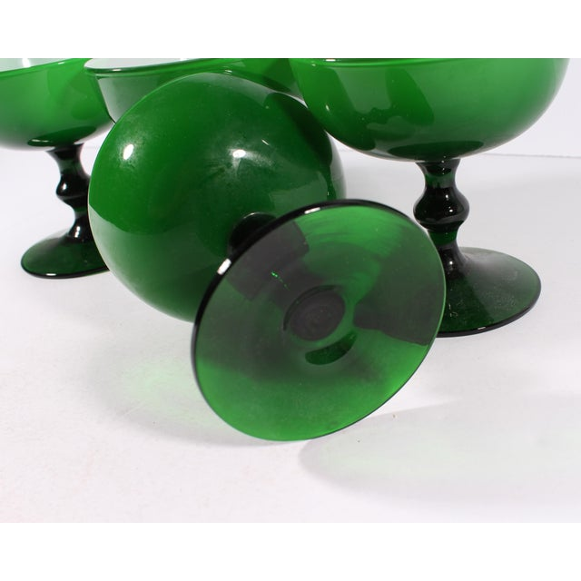 1960s Carlo Moretti 1960s Italian Green Champagne Coupes or Sherbet Glasses - Set of 4 For Sale - Image 5 of 7