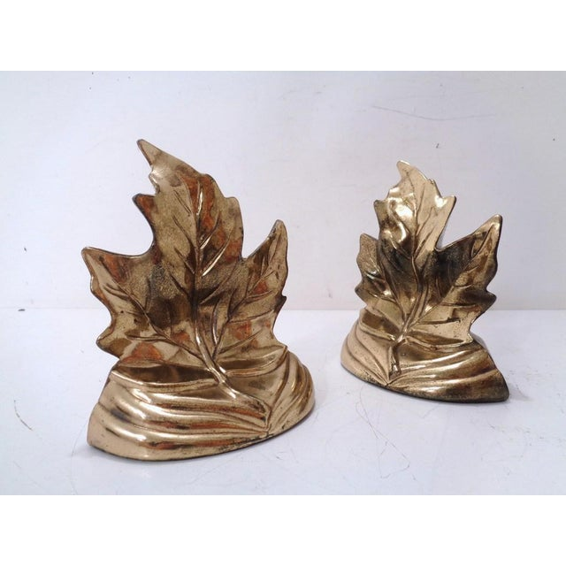 Gold Vintage Gold Maple Leaf Bookends ~ a Pair For Sale - Image 8 of 8