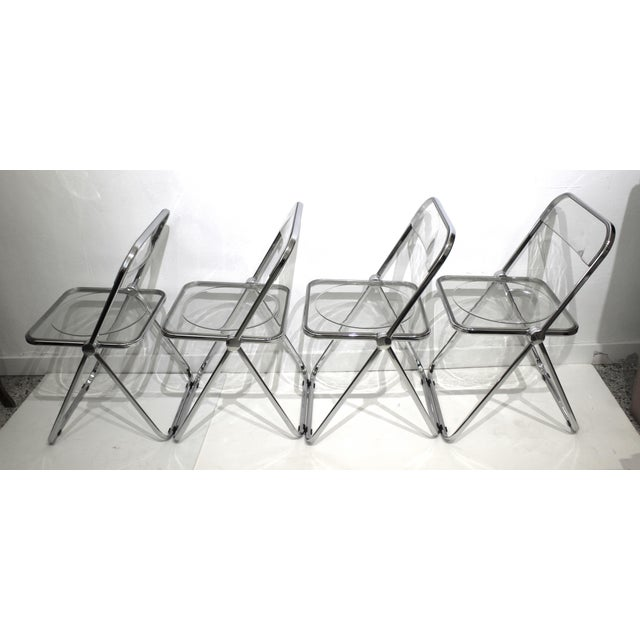 1970s Vintage Casselli Plia Folding Chairs in Lucite and Chrome - a Set of 4 For Sale - Image 5 of 13