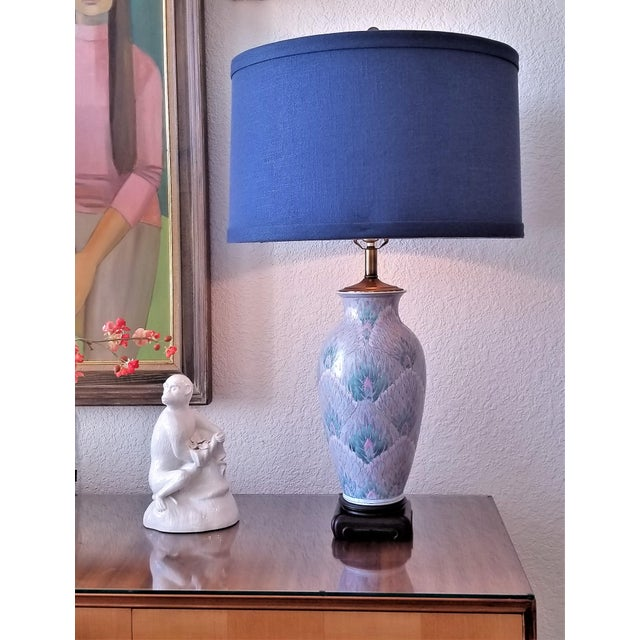 Vintage Peacock Phoenix Bird Feather Ceramic Porcelain Chinese Table Lamps -Pair- Asian Mid Century Modern Boho Chic Tropical Coastal Palm Beach Qing For Sale - Image 12 of 12