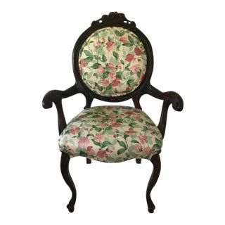 Antique Victorian Floral/Wood Chair For Sale