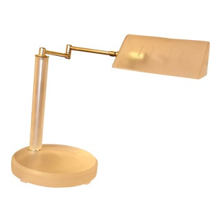 1980's Frosted Lucite and Brass Swing Arm Desk Lamp, Viuntage For Sale