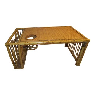 Vintage Boho Burnt Bamboo Bed Tray Table For Sale