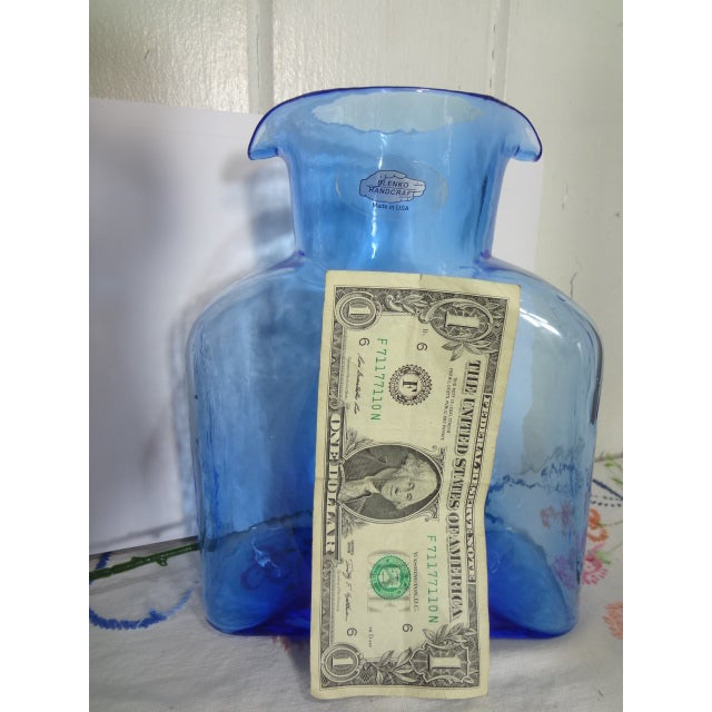 Blenko Hand Made Glass Water Pitcher For Sale - Image 10 of 12