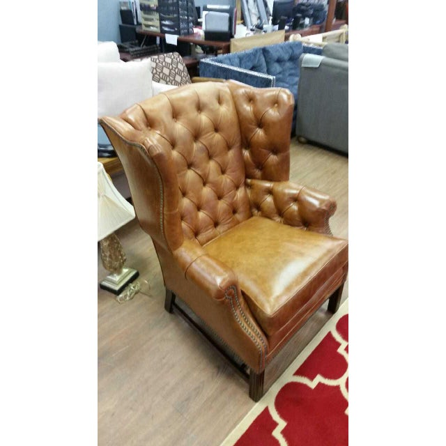 Refurbished Genuine Leather Wing Chair - Image 2 of 7