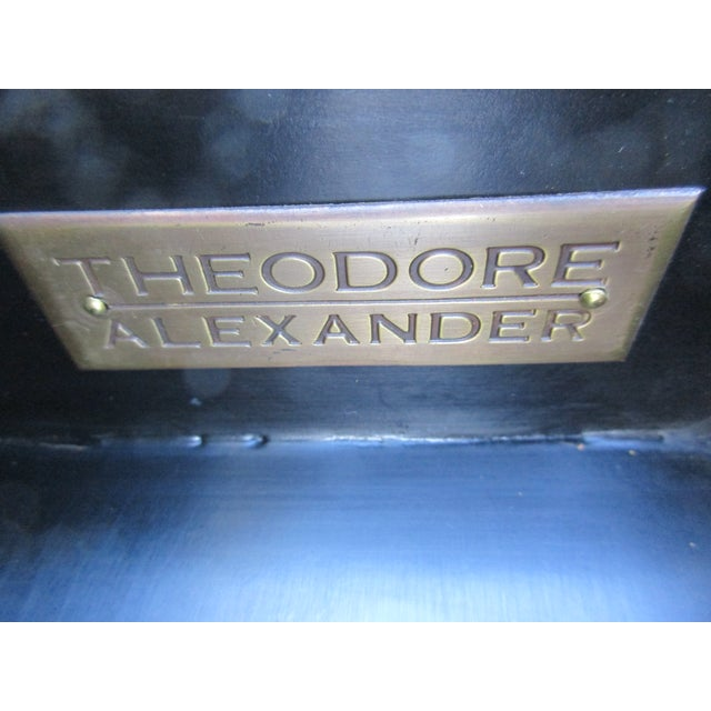 Theodore Alexander Antiqued Black Lacquer Side Table For Sale - Image 11 of 13