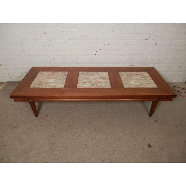 Rare MidCentury Modern Coffee Table With Marble Inserts By John - Cheap mid century modern coffee table