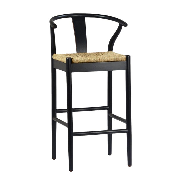 Black Woven Oak Bar Stool For Sale