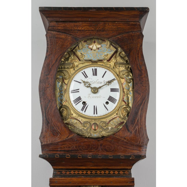 19th Century French Comtoise Grandfather Clock With Automated Pendulum For Sale - Image 4 of 11