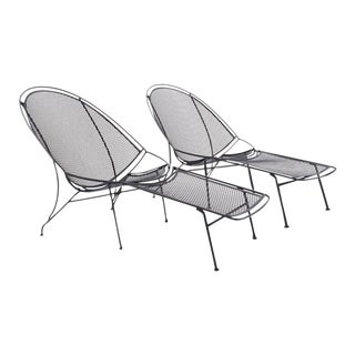 Rare Pair of John Salterini Patio Chaise Lounge Chairs with Removable Footrests For Sale