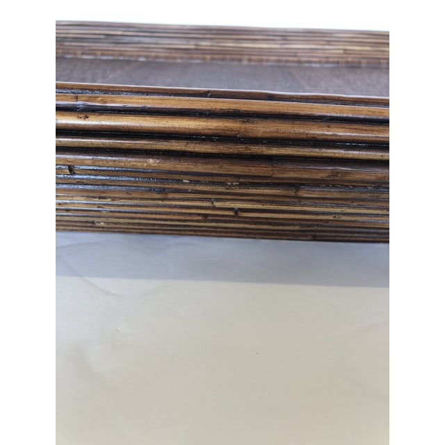 Wood Wicker Rattan and Seagrass Handled Gallery Tray For Sale - Image 4 of 11
