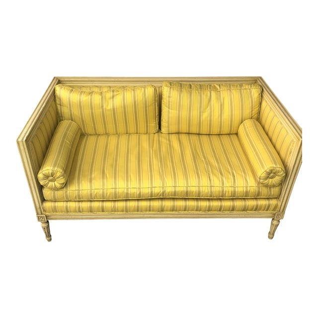 Bright Yellow & Green Stripe French Directoire Louis XVI Settee Loveseat For Sale