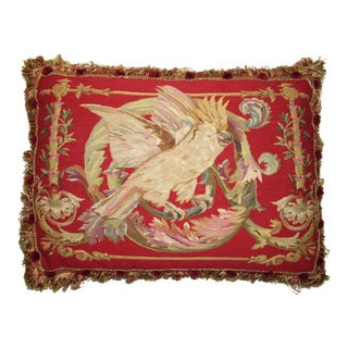 Vintage French Aubusson Cockatoo Pillow For Sale