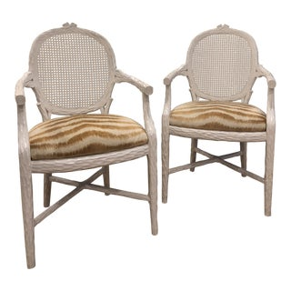 Vintage Faux Bois Cane Back With Pierre Frey Velvet Seat Arm Chairs - a Pair For Sale