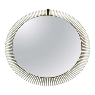 Stilnovo Midcentury Round Metal Illuminated Mirror, Italy, 1960s For Sale