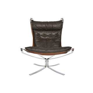 Sigurd Ressell Leather + Chrome Falcon Chair For Sale