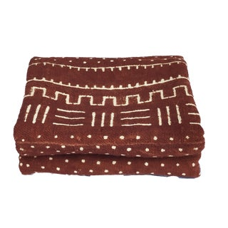 """African Malian Bogolan Textile Mud Cloth Brown & White 40"""" by 62"""" For Sale"""