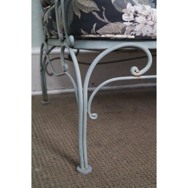 Custom Floral Cushion Iron Patio Settee - Image 7 of 10