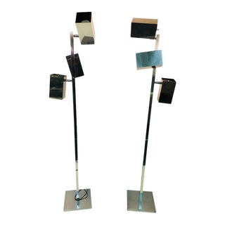 Pair of Koch & Lowy Modernist Polished Chrome Floor Lamps For Sale