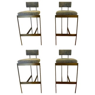 Set of Four Powell and Bonnell 'Alto' Suede Bar Stools For Sale