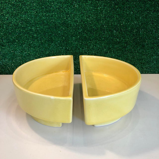 """Great pair of matching half circle Ikebana planters in a yellow glaze. Each planter measures 5"""" wide x 9.5""""deep x 3.5"""" tall"""