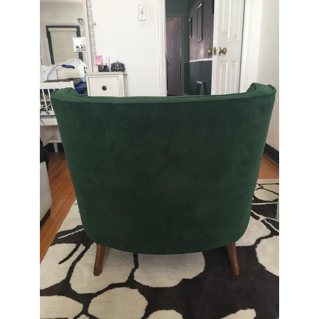 Deco Style Emerald Green Velvet & Ottoman - Image 5 of 6