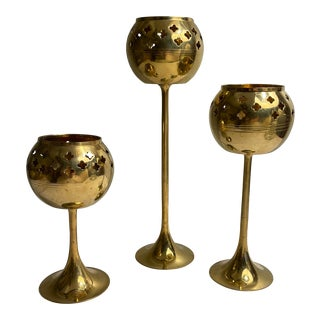 Vintage Pierced Brass Candle Holders- Set of 3 For Sale