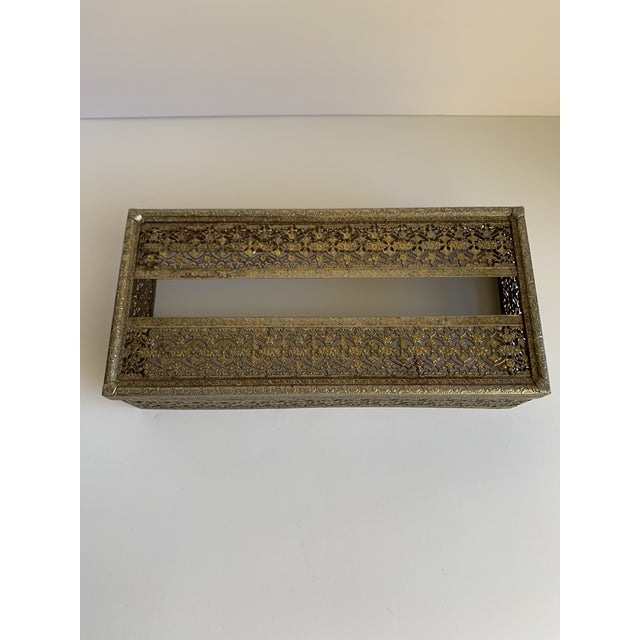 Metal Midcentury Brass Decor Tissue Box For Sale - Image 7 of 12