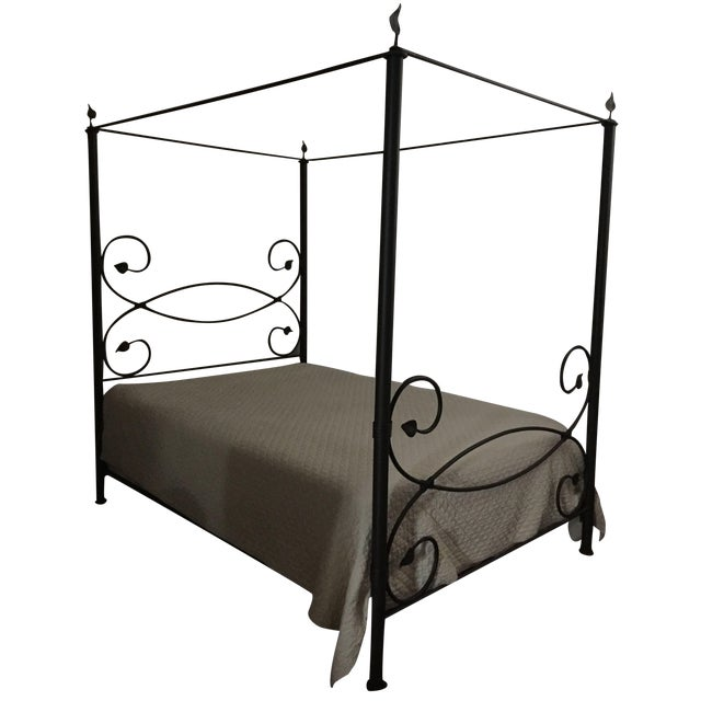 Iron Leaf-Style Canopy Queen Bed - Image 1 of 5