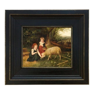 My Pet Lamb Framed Oil Painting Reproduction Print on Canvas For Sale