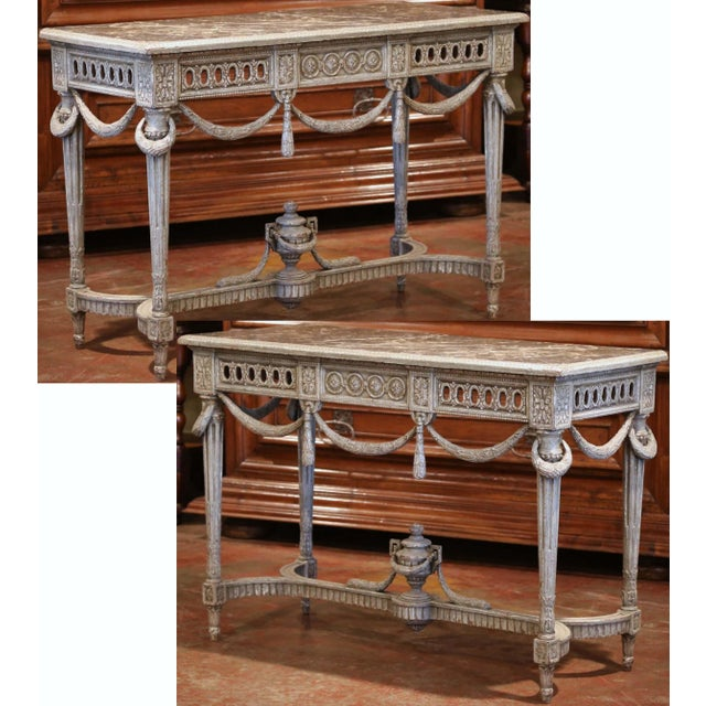Pair of 19th Century French Carved Painted Consoles Tables With Faux Marble Top For Sale - Image 12 of 12