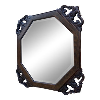 Antique English Beveled Framed Oak Wall Mirror For Sale