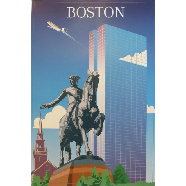 A contemporary poster made for Independence Air advertising travel to Boston. Independence Air was a low-cost airline,...