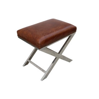 Pasargad Home Paris Club Bench With Genuine Top Grain Leather For Sale