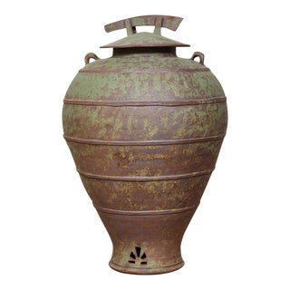 Urn Shaped Clay Jar With Lid, Stamped For Sale