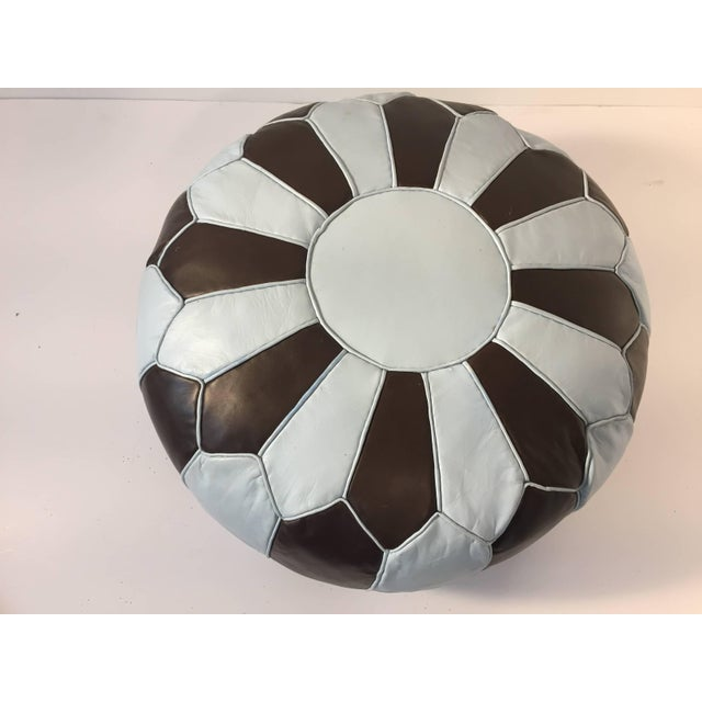 Islamic Moroccan Round Leather Pouf Hand-Tooled in Marrakesh For Sale - Image 3 of 10