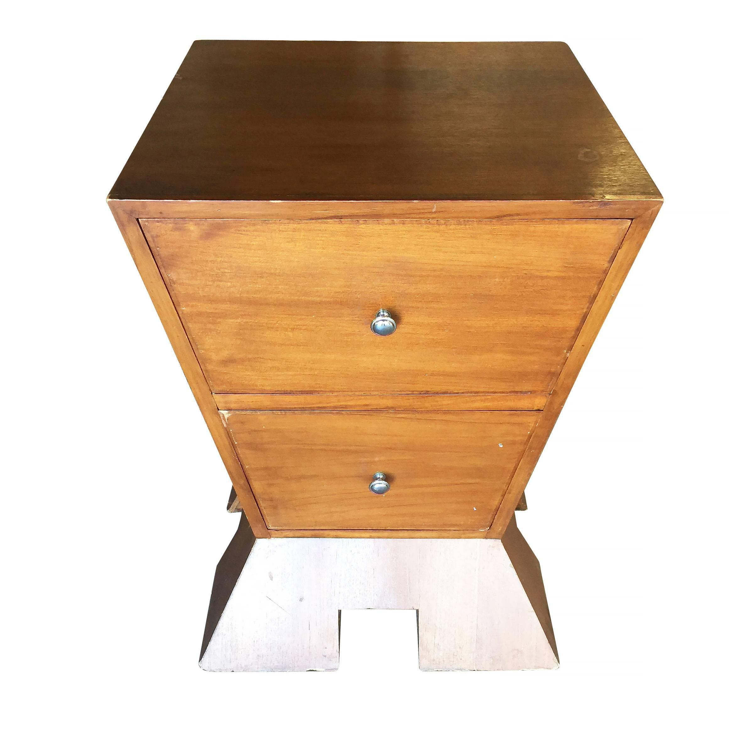 Unique Modernist Bedroom Nightstand Made Of An Inverted Triangle On A  Triangular Base With Two Drawers