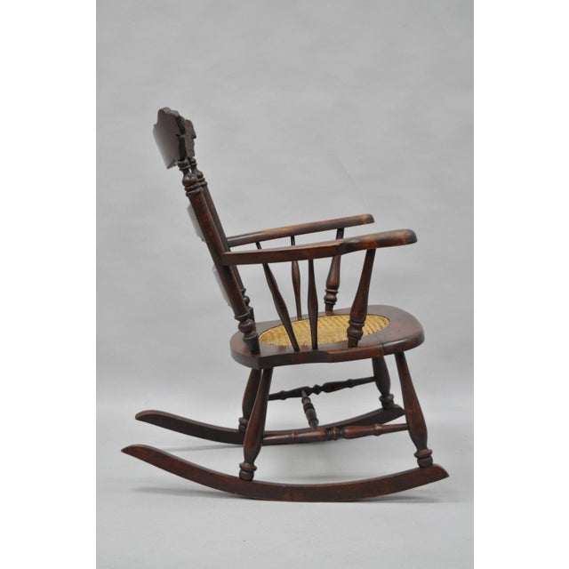 Antique Carved Mahogany Eagle Rocking Chair Rocker Victorian Figural Cane Seat - Image 12 of 12