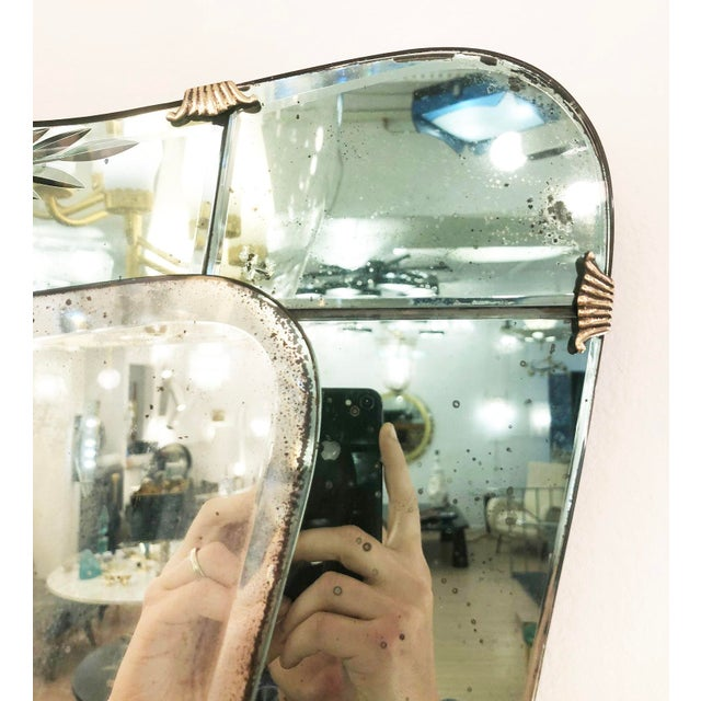 Brass Cristal Art Mirror, Italy, 1950's For Sale - Image 7 of 8