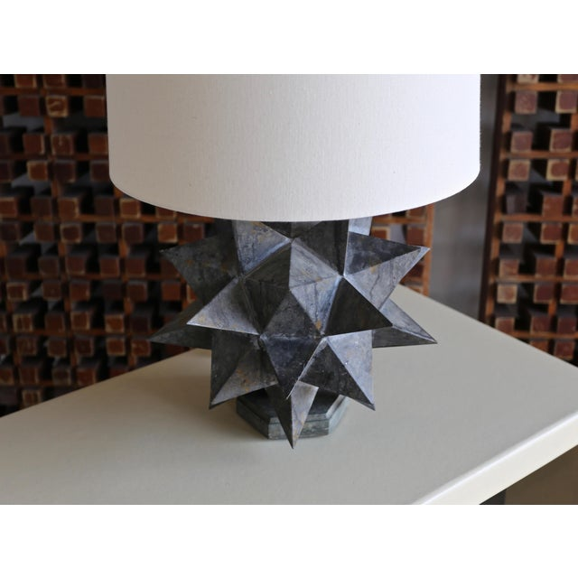 Brutalist Sculptural Metal Table Lamps, Circa 1965 - a Pair For Sale - Image 3 of 12