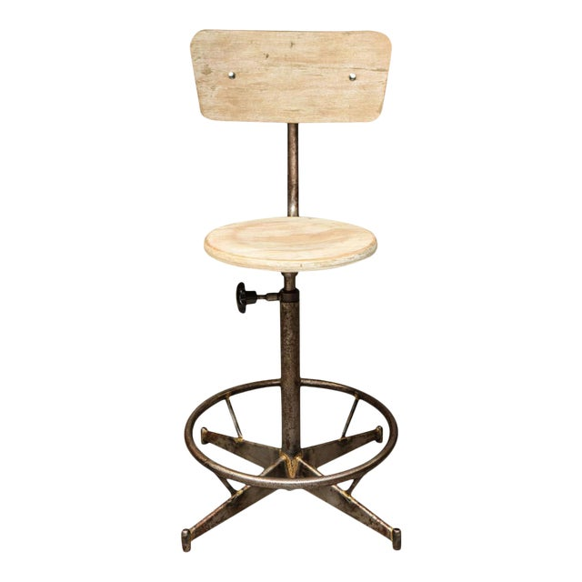 Antique Industrial Light Wood and Metal Adjustable Swivel High Chair For Sale